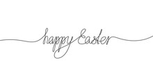 Happy Easter Calligraphic Handwritten Inscription Continuous One Line Drawing, Text Made Of Thin Line. Vector Minimalist Illustration, Design Element For Easter Holidays
