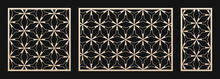 Laser Cut Patterns Set. Vector Templates With Abstract Geometric Ornament, Thin Lines, Triangles, Hexagon Grid. Decorative Stencil For Laser Cutting Of Wood, Metal, Plastic. Aspect Ratio 1:1, 3:2, 1:2