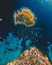 "Aerial View Of Sant Elm, Mallorca, Spain, And Its Island ""Es Pantaleu"""