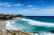 Cliffs Along Empty Beach In Sidney Australia Coastline