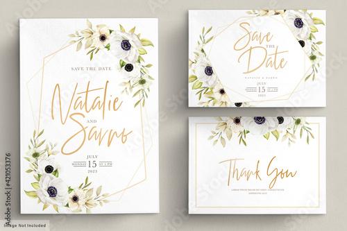 Watercolor poppy anemone invitation card Wallpaper Mural