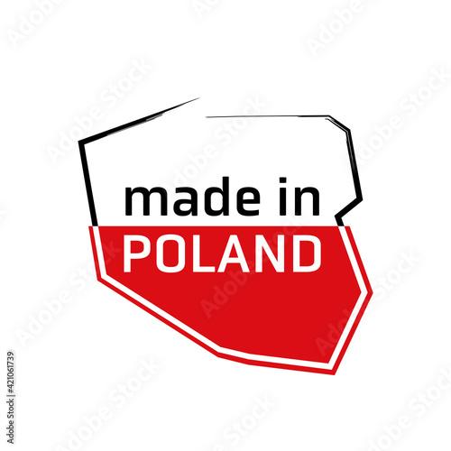 Mapa Polski flaga wyprodukowano w Polsce PRODUKT POLSKI made in poland znak ikona symbol na opakowania - fototapety na wymiar