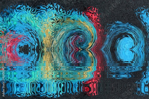 Fototapeta premium illustration on color background from distortion and abstraction with twisting