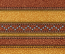 Leather Design With Horizontal Stripes With Stitches And Sequin Zig-zag