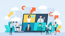 Online Business Conference, Creative Illustrations, Businessmen, Online Joint Meeting, Team Thinking And Brainstorming, Company Information Analytics Illustration