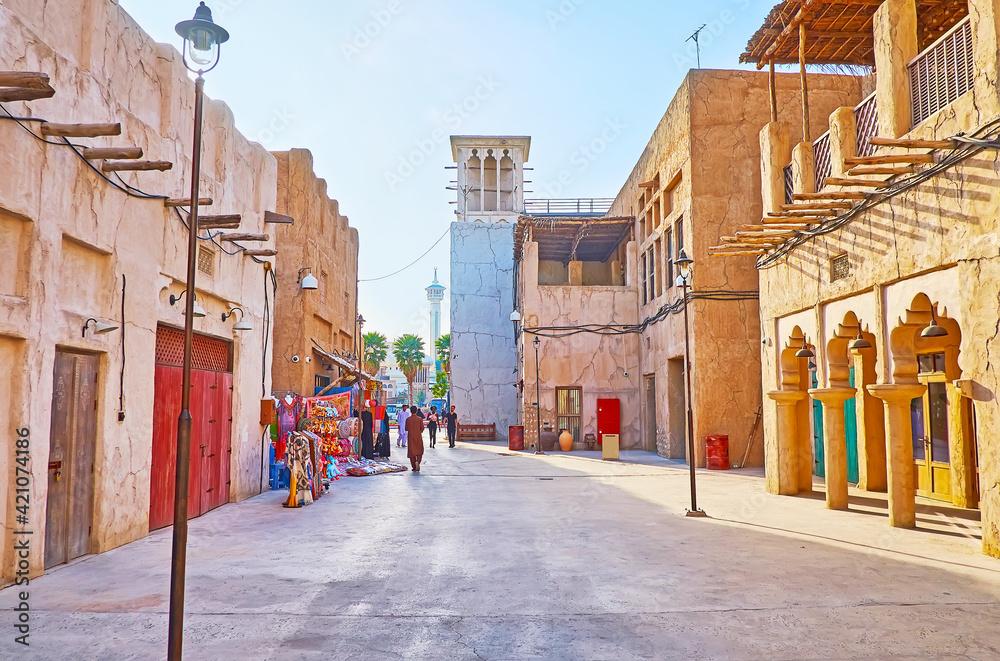 Fototapeta Walk the old streets of Al Fahidi, Dubai, UAE