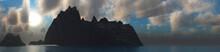 Islands In The Sea, Rocky Islands In The Ocean, Seascape Panorama, Ocean Landscape With Islands, 3D Rendering