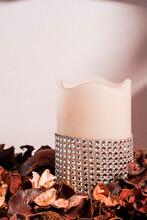 Decorated Candle In Potpourri