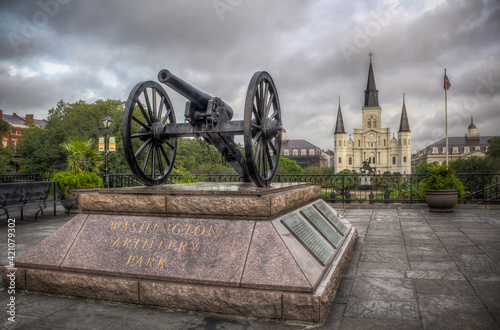 Canvas New Orleans Saint Louis Cathedral with Cannon