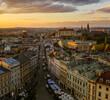 Aerial view of downtown (Grodzka street), Krakow, Poland