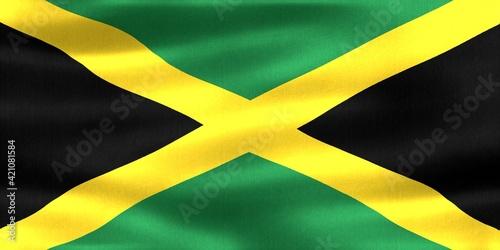 Obraz na plátně 3D-Illustration of a Jamaica flag - realistic waving fabric flag
