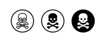 Skull And Crossbones Icon. Icons Button, Vector, Sign, Symbol, Logo, Illustration, Editable Stroke, Flat Design Style Isolated On White Linear Pictogram