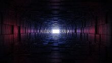 Tunnel With Different Color Spectrum With An End Light