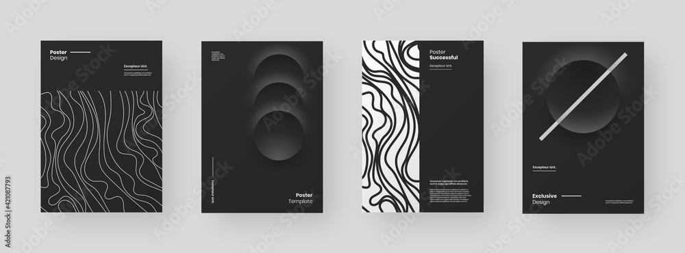 Fototapeta Abstract set Placards, Posters, Flyers, Banner Designs. Black and white illustration on vertical A4 format. 3d geometric shapes and wavy lines. Decorative neumorphism backdrop.