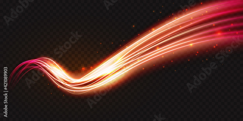 Luminous neon shape wave, abstract light effect vector illustration. Wavy glowing bright flowing curve lines, magic glow energy stream motion with particle isolated on transparent black background.