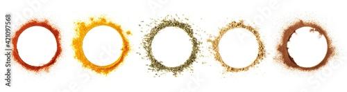 Fotografie, Tablou Set red paprika powder, turmeric, oregano, ginger, cinnamon  in shape circle iso