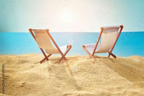 Stampa su Tela Beach chairs on the sand