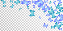 Fairy Blue Butterflies Cartoon Vector Wallpaper. Spring Cute Insects. Detailed Butterflies Cartoon Kids Illustration. Sensitive Wings Moths Graphic Design. Fragile Beings.