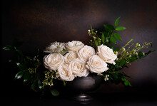 Bouquet Of Ivory Roses On Deep Rust