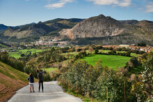 View Of The Neighborhood Of Santullan, Castro Urdiales, Cantabria, Spain.