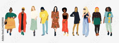 Fototapeta diversity of women vector  illustration  obraz