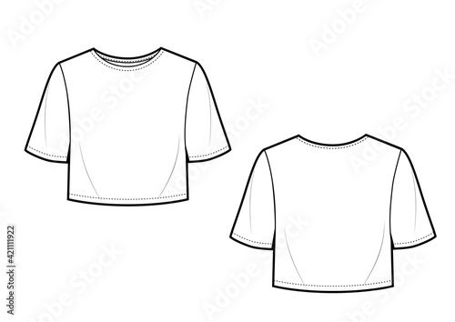 Vector crop basic t shirt. Mock up template Fototapet