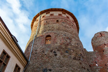 Medieval Bauska Castle Courtyard With Lookout Tower. This Is The Old Section Of The Castle, Established In The 15th Century By The Livonian Branch Of The Teutonic Knights.