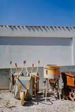View Of Construction Place Wheelbarrow Cement Mixer