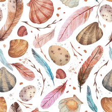 Watercolor Seamless Pattern. Seashore With Shells, Feathers, Twigs. Greeting Card For You, Background, Handmade, Seamless Pattern, Light Background.