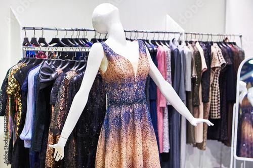 Evening women's dress on a mannequin Fototapeta