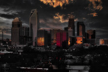 City Skyline Of Charlotte North Carolina At Sunset