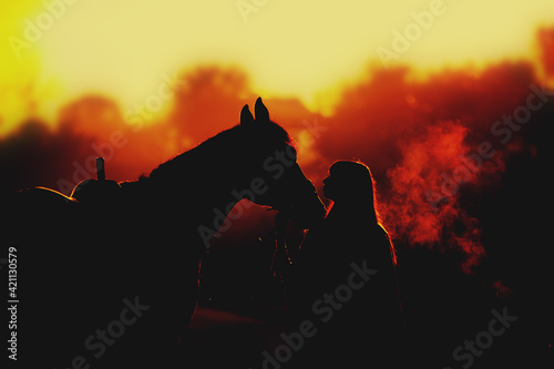 Fototapeta Silhouette of a girl and a horse on a background of dawn. Horse breathing vapor. A man kisses a horse obraz