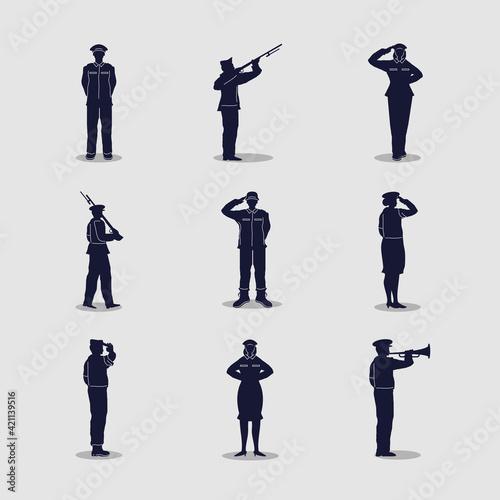 Obraz na plátně military soldier set