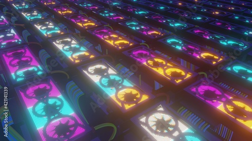 Fototapeta Set of graphic cards, neon glowing concept of computational power and cryptocurrency mining, 3D rendering. obraz
