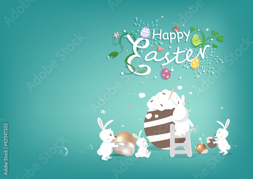 Obraz Happy Easter, celebrate invitation, rabbit cartoon character with Easter egg, seasonal party holiday vector illustration - fototapety do salonu