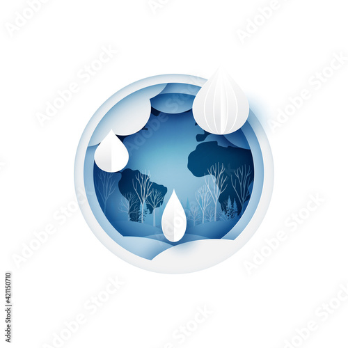 Obraz World water day.Water drop.Paper art of save water for ecology and environment conservation concept design. - fototapety do salonu