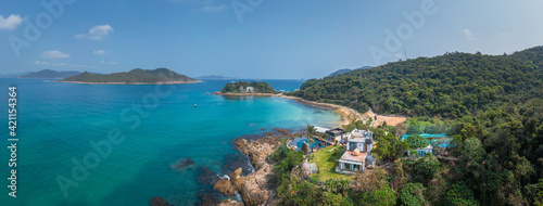 Fototapeta Regal residential area in coastline near Clear Water Bay, Hong Kong, outdoor, daytime obraz