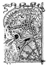Black And White Illustration With Skull Of Warrior, Arrows, Burning Candles And Old Wheel With Flowers And Spider Web. Mystic Background For Halloween, Esoteric, Gothic, Heavy Metal Or Occult Concept,