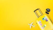 Travel Illustration With Yellow Bag, Camera And Aircraft Model. Flat Lay Illustration
