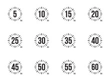 Stopwatch Icons Set 5, 10, 15, 20, 25, 30, 35, 40, 45, 50, 55 And 60 Seconds.