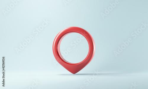 Fototapeta 3d red map pointer pin. Location symbol on blue background. 3D rendering obraz