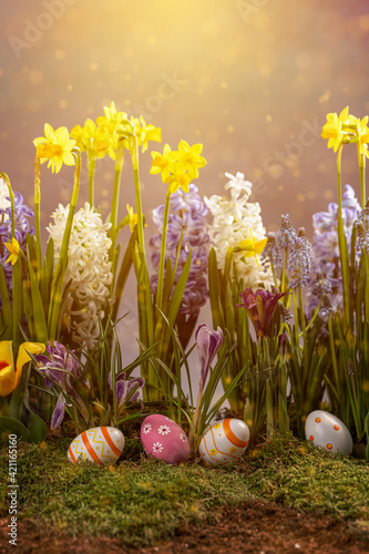 Obraz Easter card with copy space. - fototapety do salonu