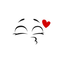 Kissing Emoji Face With Red Heart Isolated Emoticon Giving Kiss. Vector Smile, Wink Face And Flying Kiss, Speech Chart Element Social Network Icon. Smiley Blowing Kiss, Line Art Character, Closed Eyes