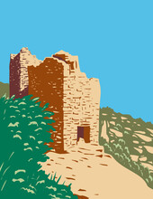 WPA Poster Art Of Twin Towers Part Of The Square Tower Group In Hovenweep National Monument Located On Land In Colorado And Utah Done In Works Project Administration Style.