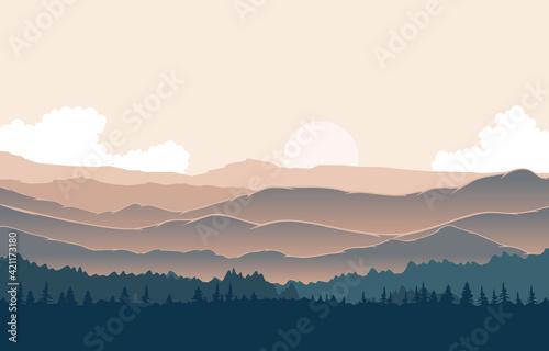 Fotografie, Obraz Peaceful Mountain Panorama Landscape in Monochromatic Flat Illustration