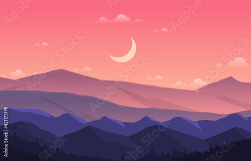 Canvas Print Peaceful Mountain Panorama Landscape in Monochromatic Flat Illustration