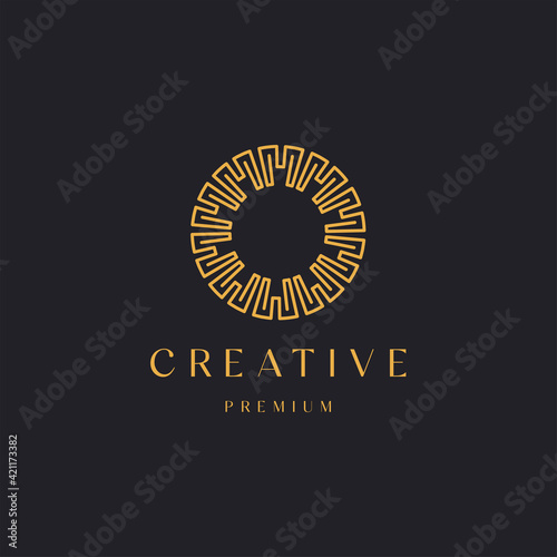 Fototapeta Abstract luxury circle ornament line style with letter M concept, logo icon design template vector illustration  obraz