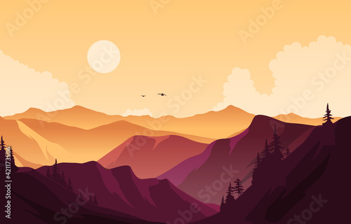 Fototapeta Beautiful Pine Forest Mountain Panorama Landscape Flat Illustration obraz