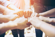 Business Group United Hands Together Joining Teamwork