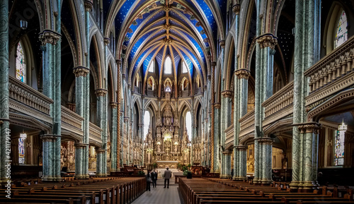 Photo Interior of Notre-Dame Cathedral Basilica, Ottawa, Ontario, Travel to Canada